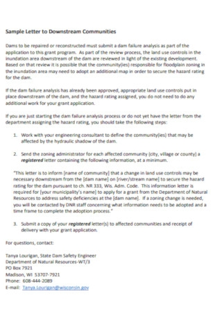 Sample Letter to Downstream Communities