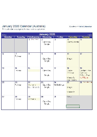 Sample Monthly Calendar Template