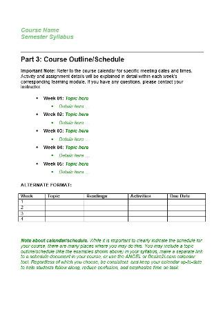 Sample Online Course Syllabus Example
