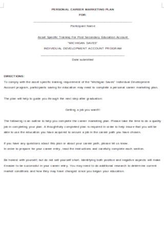 Sample Personal Career Marketing plan Template