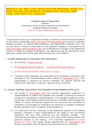 Sample Program Letter of Agreement Template