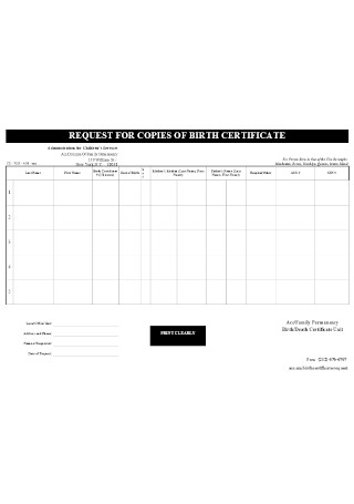 Sample Request of Copies of Birth Certificate