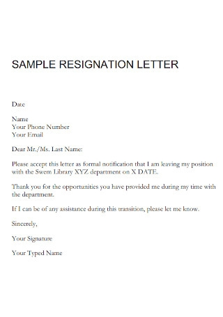 Sample Resignation Letter Template