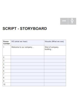 Sample Sript Storyboard Template