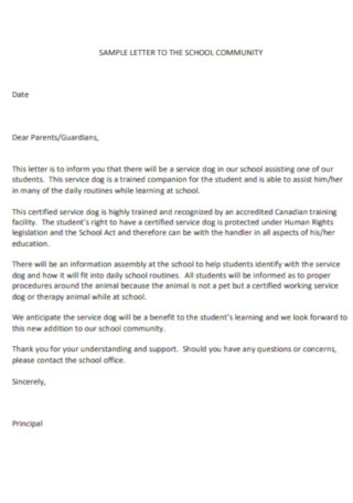 School Community Service Letter