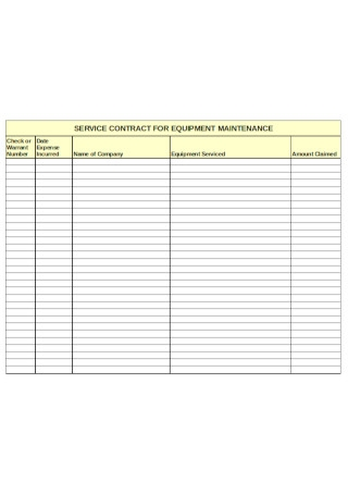 Service Contract for Equipment maintanance Example