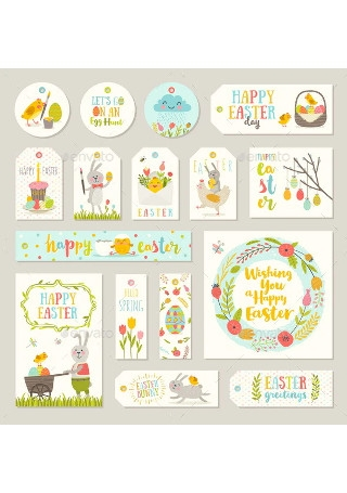Set of Easter Gift Tags and Labels Template