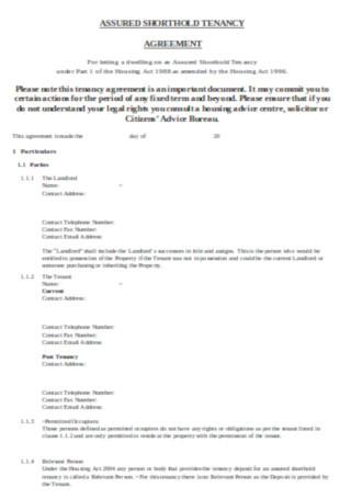 Shorthold Tenancy Agreement