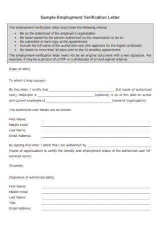 Simple Employment Verification Letter Example