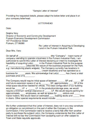 Simple Letter of Interest Template