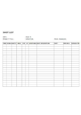 Simple Short List Template