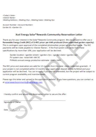 Solar Rewards Community Reservation Letter