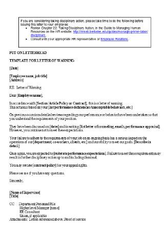 Standard Employee Warning Letter