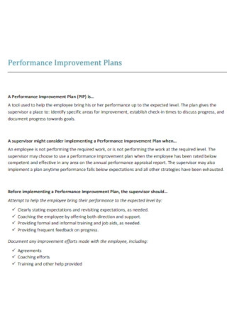 Standard Performance Improvement Plans