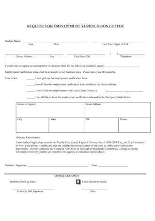 Standard Request for Employment Verification Letter