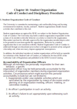 Student Organization Disciplinary Probations Template