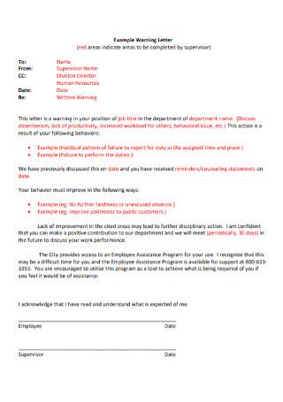 Supervisor Warning Letter