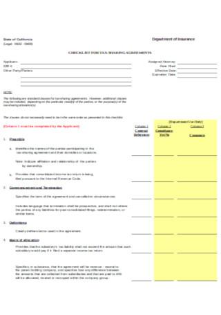 Tax Sharimng Agreement Template