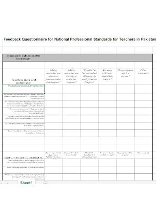 Teacher Education Questionnaire Template