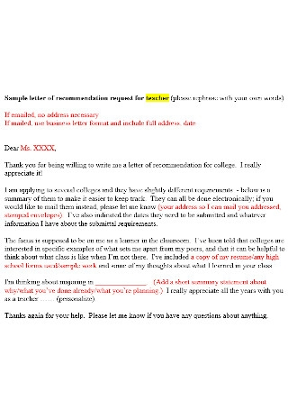 Teacher Recommmendation Letter Template