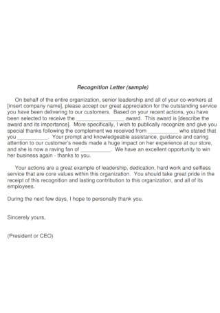 Team Senior Leadership Recognition Letter