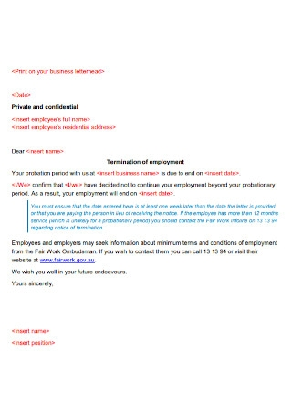 Termination of Employement Probationary Period Letter