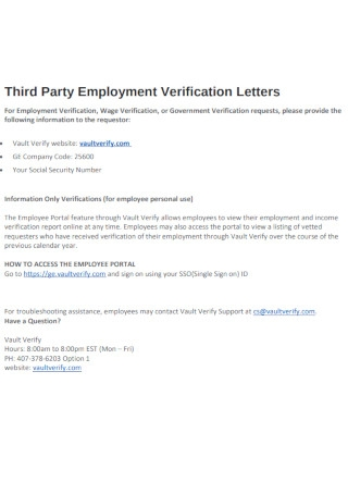 Third Party Employment Verification Letters