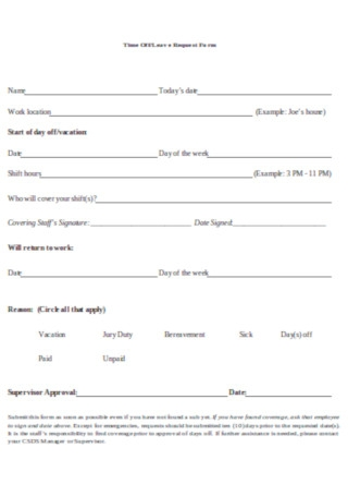 Time Off Leave Request Form Template