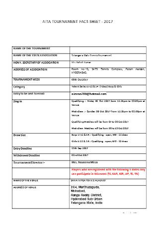 Tournament Fact Sheet Template