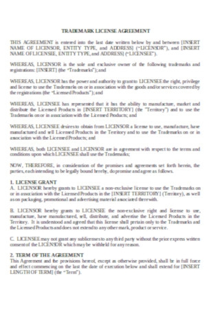 Trademark Licence Agreement Template