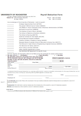 Universitry Payroll Deduction Form