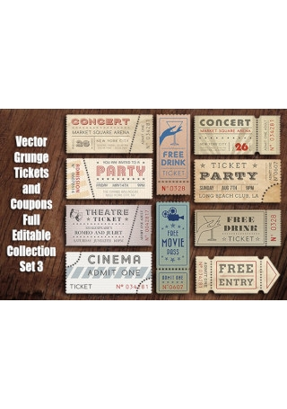 Vector Grunge Tickets and Coupons