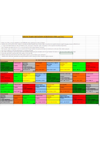 Year Rotation Schedule Template