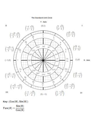 Academic Unit Circle Chart Template