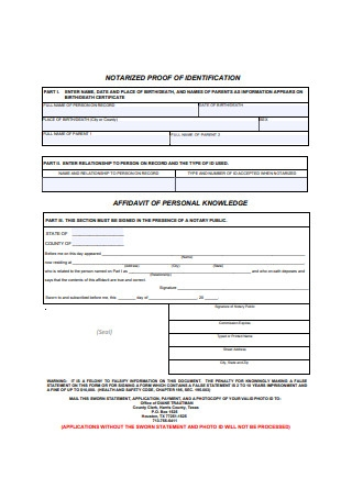 Affidavit for Person Proof of Identity Template