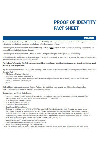 Affidavit for Proof of Identity Fact Sheet Template