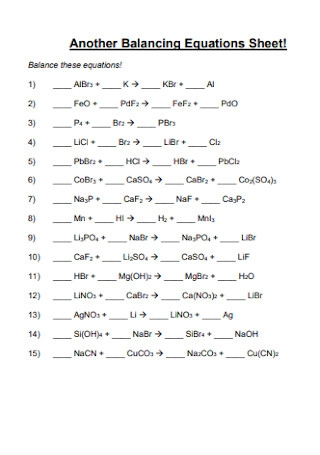 Another Balancing Equations Sheet