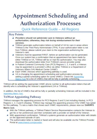 Appointment Scheduling and Authorization Processes Template