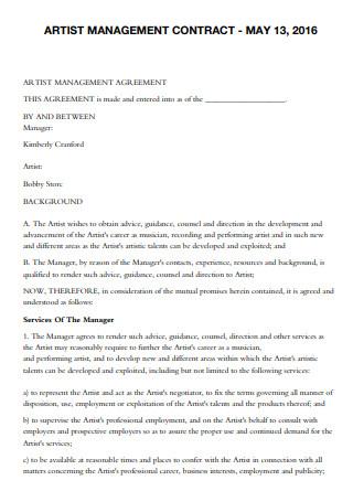 Artist Management Development Contract Template
