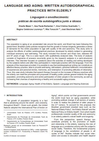 Autobiographical Language Speech Template