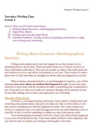 Autobiographical Narrative Speech Template