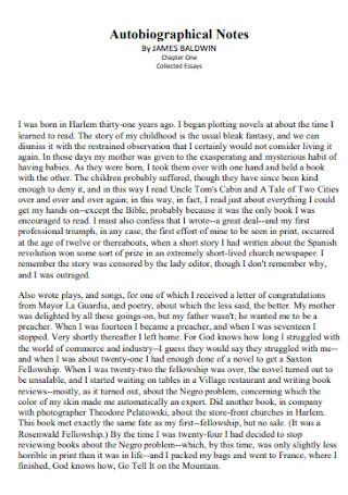 Autobiographical Notes Speech Template