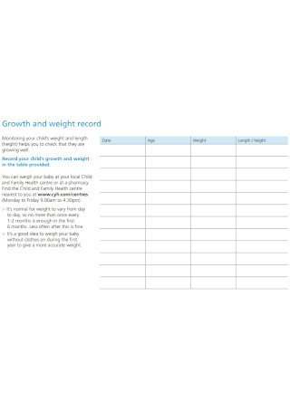 Baby Growth and Weight Record Chart Template