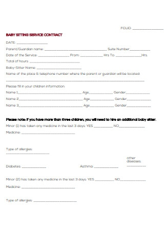 Baby Sitting Service Contract Template