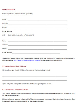 Babysitter Child care contract