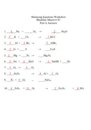 Balancing Blackline Master Equations Worksheet