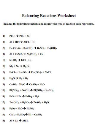 Balancing Chemical Equations Reactions Worksheet