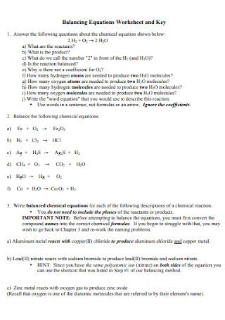 Balancing Equations Worksheet and Key Template