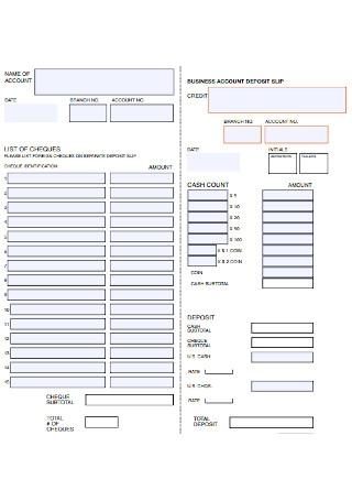 Bank Business Account Deposite Slip Template