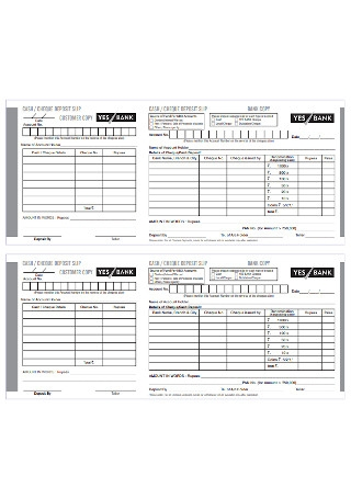 Bank Cash and Cheque Deposit Slip Template